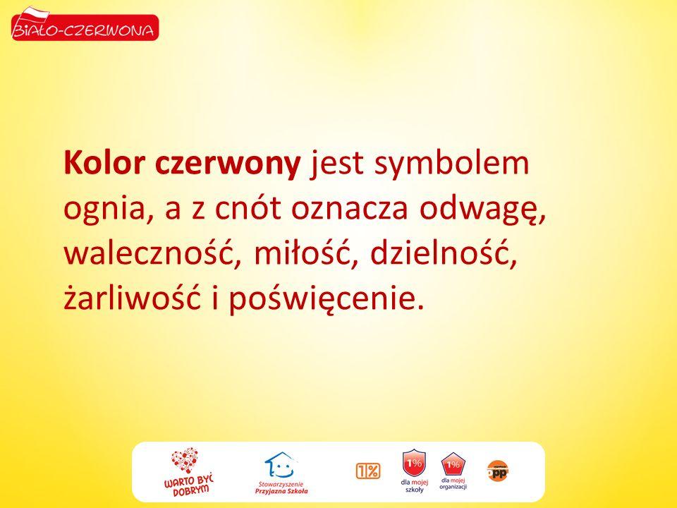 Kolor czerwony jest symbolem ognia, a z cnót oznacza odwagę, waleczność, miłość, dzielność, żarliwość i poświęcenie.