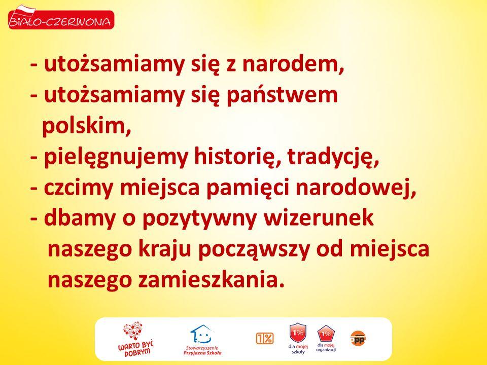 - utożsamiamy się z narodem, - utożsamiamy się państwem polskim, - pielęgnujemy historię, tradycję, - czcimy miejsca pamięci narodowej, - dbamy o pozy