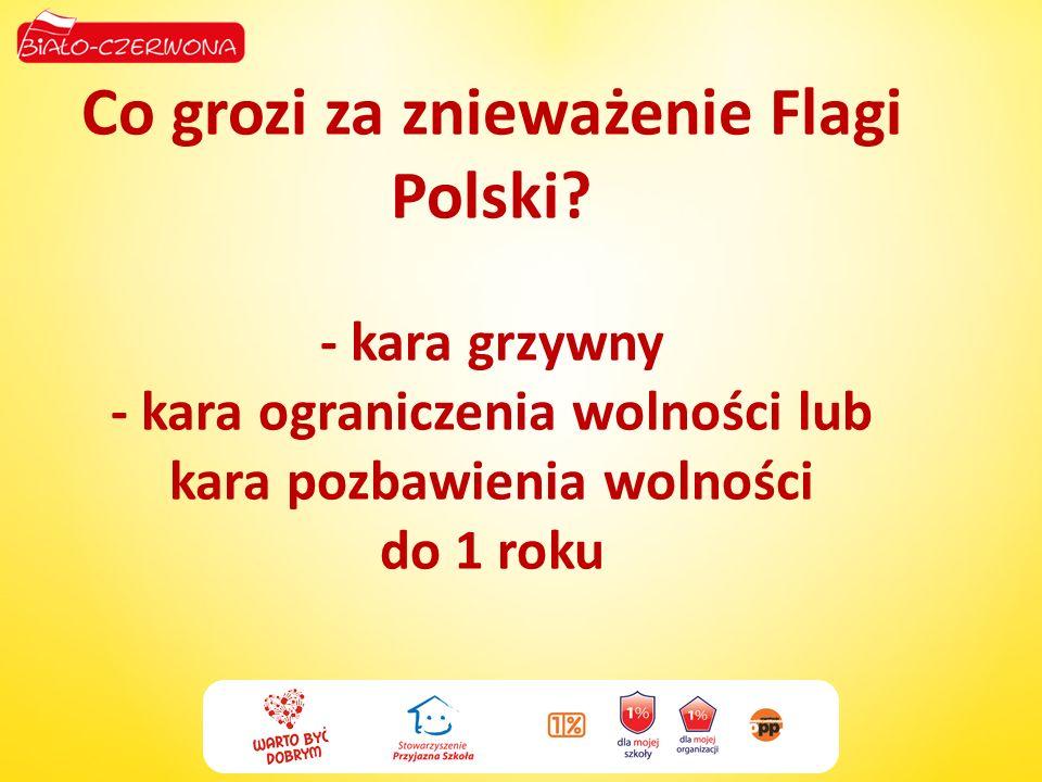 Co grozi za znieważenie Flagi Polski? - kara grzywny - kara ograniczenia wolności lub kara pozbawienia wolności do 1 roku