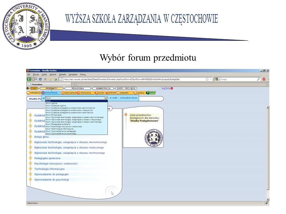 Wybór forum przedmiotu