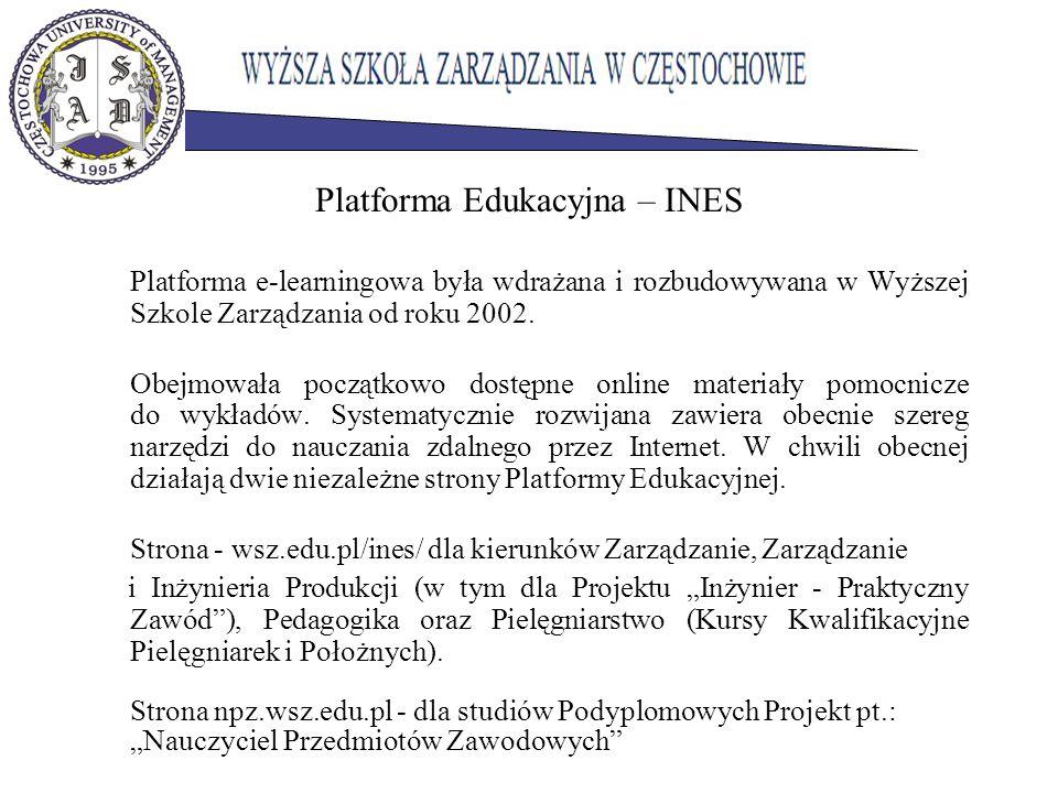 Platforma Edukacyjna – INES Platforma e-learningowa była wdrażana i rozbudowywana w Wyższej Szkole Zarządzania od roku 2002. Obejmowała początkowo dos