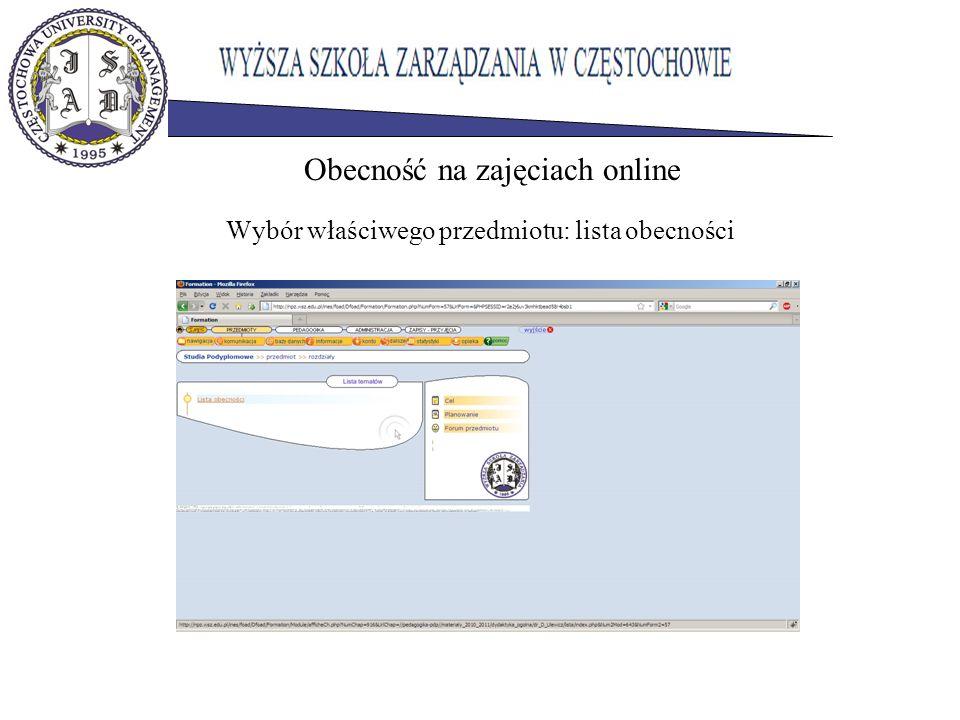 Wybór właściwego przedmiotu: lista obecności Obecność na zajęciach online