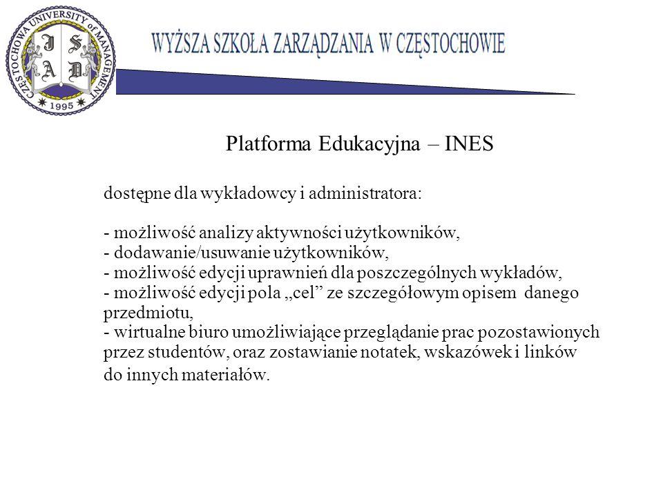 Platforma Edukacyjna – INES dostępne dla wykładowcy i administratora: - możliwość analizy aktywności użytkowników, - dodawanie/usuwanie użytkowników, - możliwość edycji uprawnień dla poszczególnych wykładów, - możliwość edycji pola cel ze szczegółowym opisem danego przedmiotu, - wirtualne biuro umożliwiające przeglądanie prac pozostawionych przez studentów, oraz zostawianie notatek, wskazówek i linków do innych materiałów.
