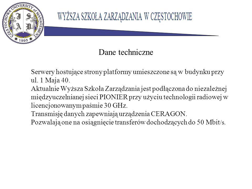 Dane techniczne Serwery hostujące strony platformy umieszczone są w budynku przy ul. 1 Maja 40. Aktualnie Wyższa Szkoła Zarządzania jest podłączona do