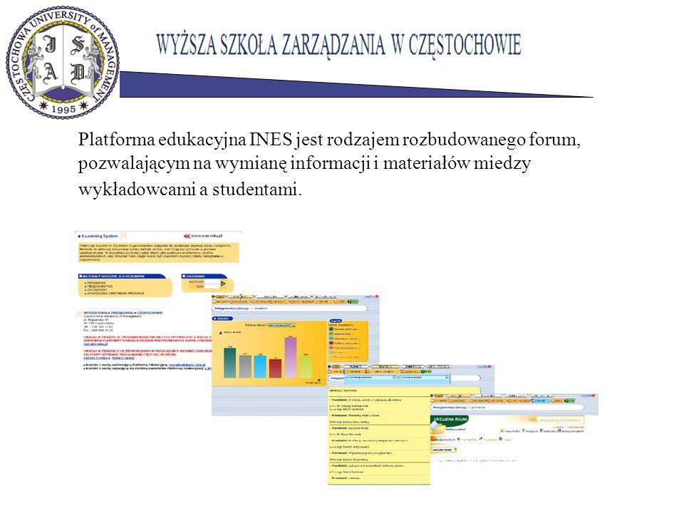 Platforma edukacyjna INES jest rodzajem rozbudowanego forum, pozwalającym na wymianę informacji i materiałów miedzy wykładowcami a studentami.
