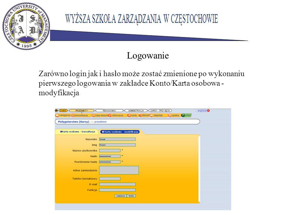 Zarówno login jak i hasło może zostać zmienione po wykonaniu pierwszego logowania w zakładce Konto/Karta osobowa - modyfikacja Logowanie