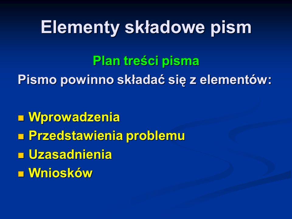 Elementy składowe pism Plan treści pisma Pismo powinno składać się z elementów: Wprowadzenia Wprowadzenia Przedstawienia problemu Przedstawienia probl