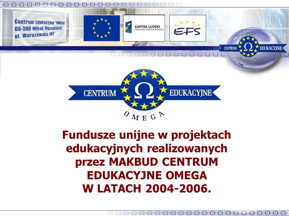 Fundusze unijne w projektach edukacyjnych realizowanych przez MAKBUD CENTRUM EDUKACYJNE OMEGA W LATACH 2004-2006.