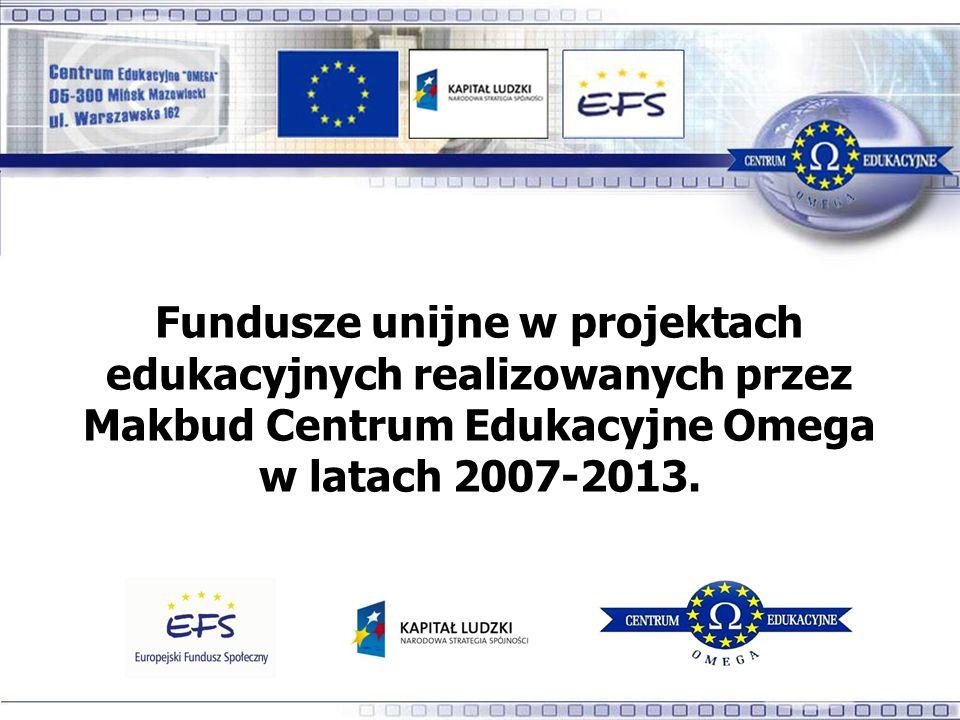 Fundusze unijne w projektach edukacyjnych realizowanych przez Makbud Centrum Edukacyjne Omega w latach 2007-2013.