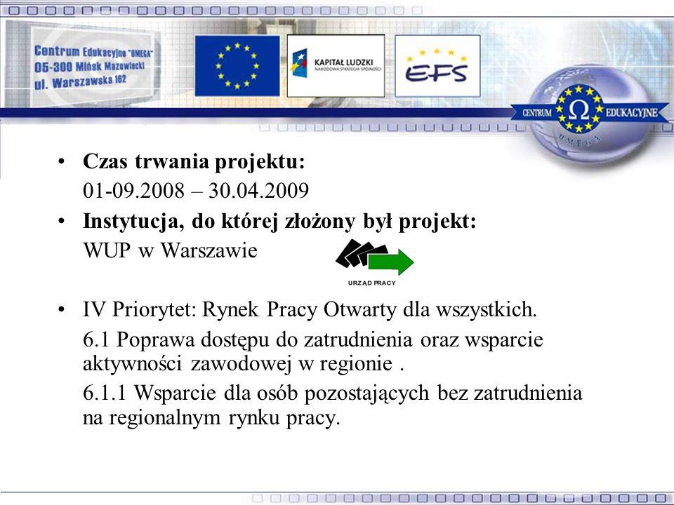 Czas trwania projektu: 01-09.2008 – 30.04.2009 Instytucja, do której złożony był projekt: WUP w Warszawie IV Priorytet: Rynek Pracy Otwarty dla wszystkich.