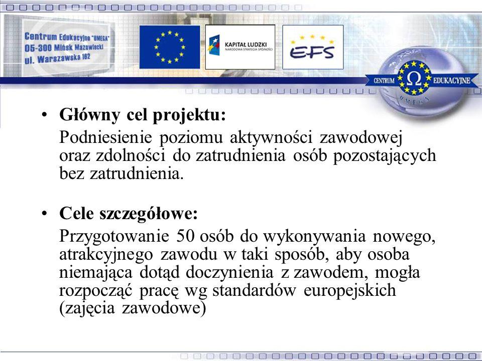 Główny cel projektu: Podniesienie poziomu aktywności zawodowej oraz zdolności do zatrudnienia osób pozostających bez zatrudnienia.