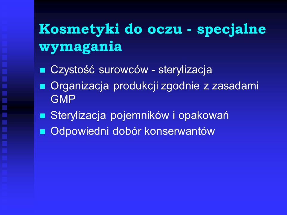 Kosmetyki do oczu - specjalne wymagania Czystość surowców - sterylizacja Organizacja produkcji zgodnie z zasadami GMP Sterylizacja pojemników i opakow