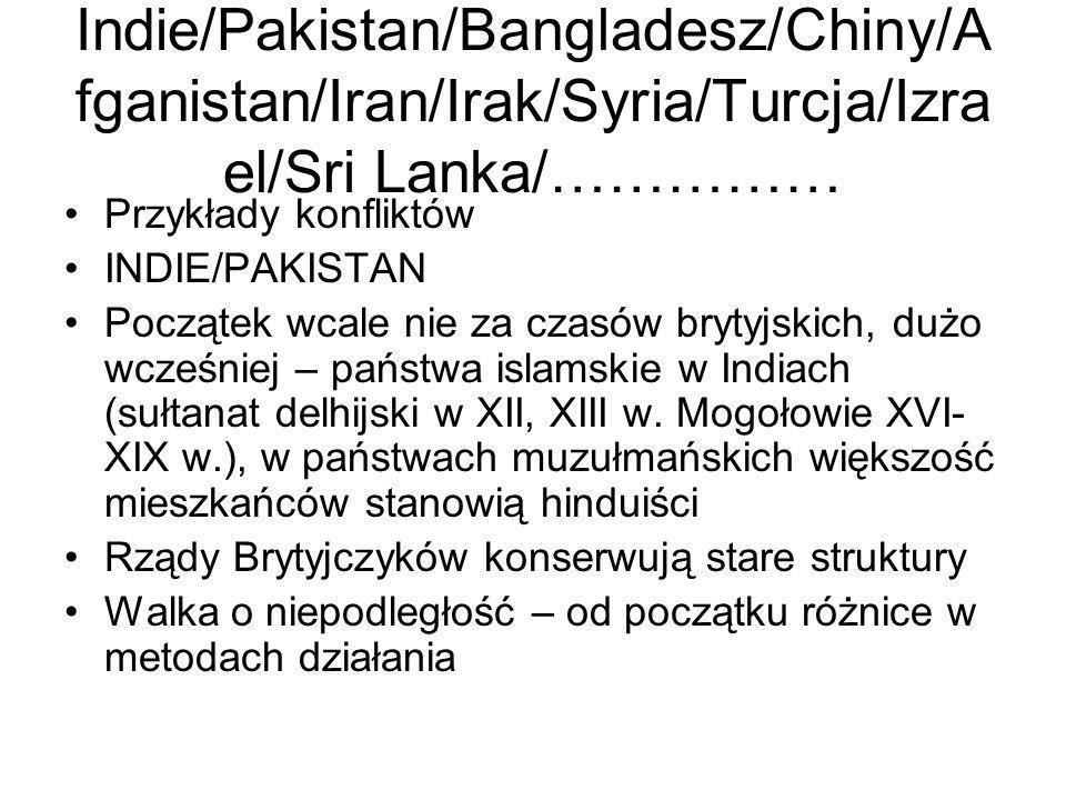 Indie/Pakistan/Bangladesz/Chiny/A fganistan/Iran/Irak/Syria/Turcja/Izra el/Sri Lanka/…………… Przykłady konfliktów INDIE/PAKISTAN Początek wcale nie za c