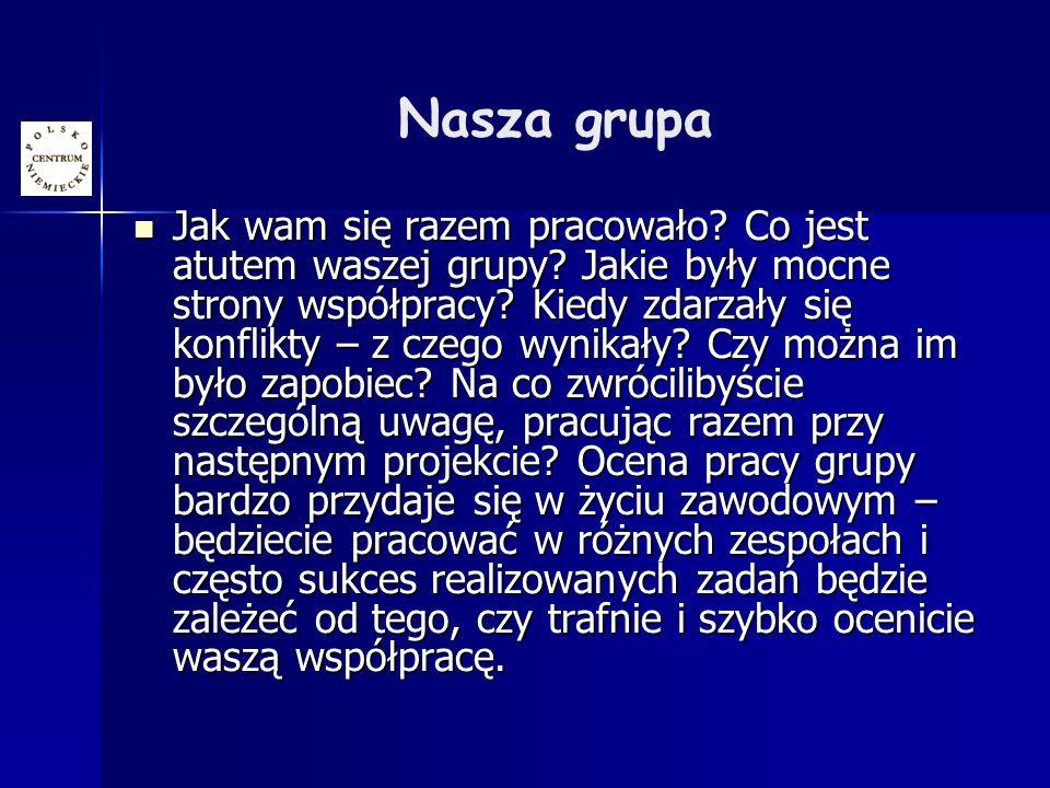 Nasza grupa Jak wam się razem pracowało. Co jest atutem waszej grupy.