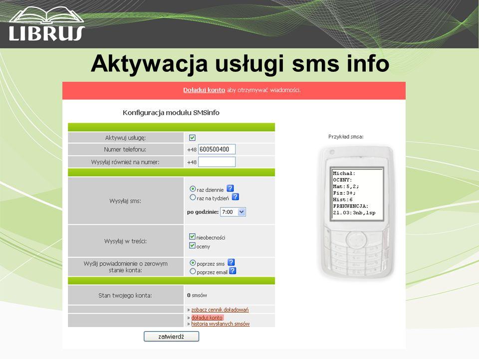 Aktywacja usługi sms info