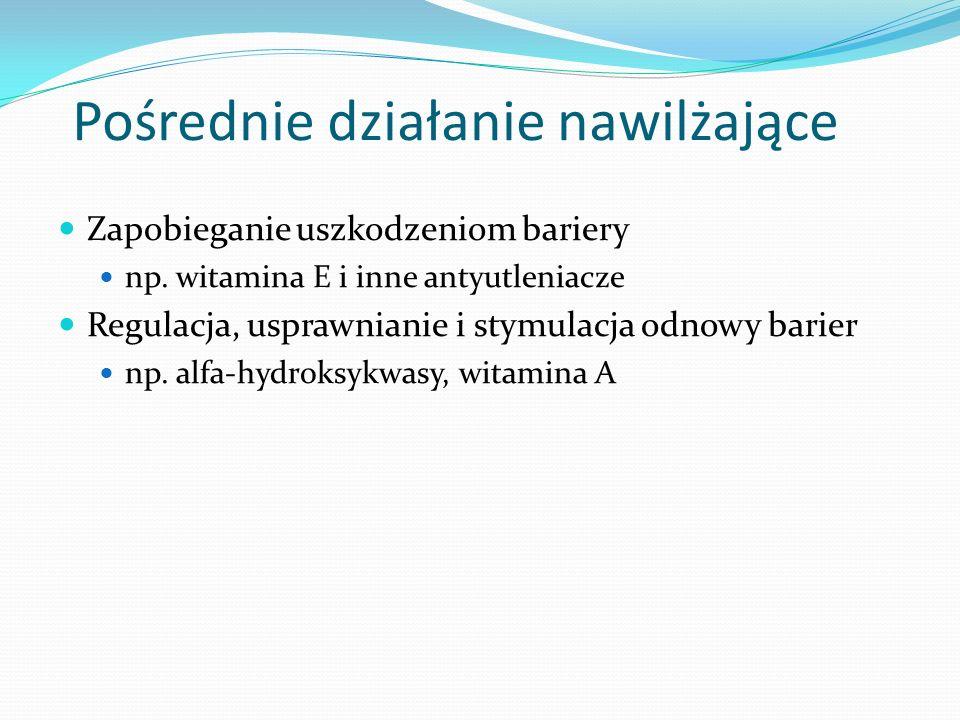 Funkcje kosmetyków nawilżających bezpośrednia regeneracja i uzupełnianie barier zatrzymanie ucieczki wody poprzez wzmacnianie barier naskórkowych regulacja i stymulacja odtwarzania barier Ochrona składników bariery