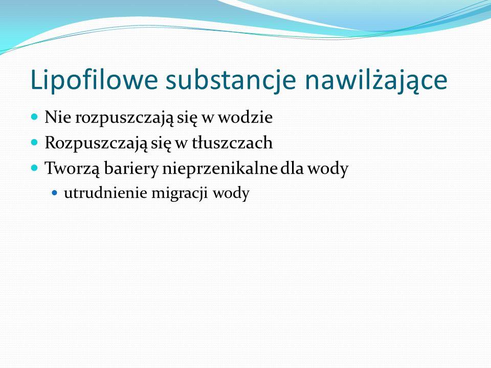 Hydrofilowe substancje nawilżające Niskocząsteczkowe mogą nawet wnikać w głąb warstwy rogowej (np. gliceryna, glikol propylenowy) Wielkocząsteczkowe d
