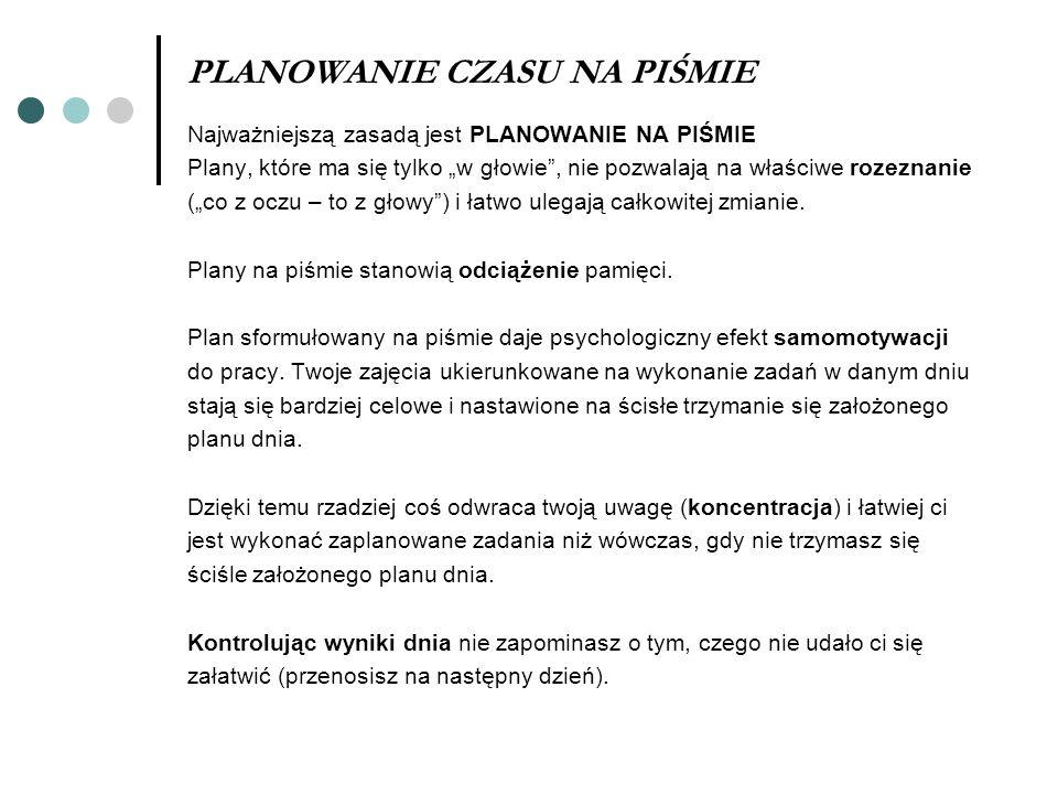 PLANOWANIE CZASU NA PIŚMIE Najważniejszą zasadą jest PLANOWANIE NA PIŚMIE Plany, które ma się tylko w głowie, nie pozwalają na właściwe rozeznanie (co
