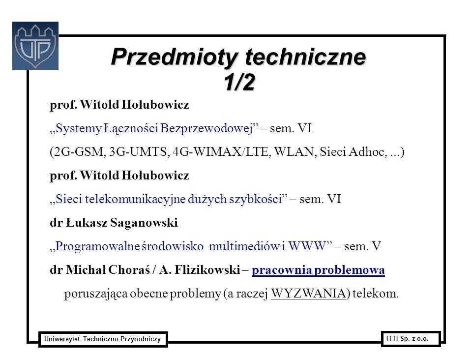 Uniwersytet Techniczno-Przyrodniczy ITTI Sp. z o.o. prof. Witold Hołubowicz Systemy Łączności Bezprzewodowej – sem. VI (2G-GSM, 3G-UMTS, 4G-WIMAX/LTE,
