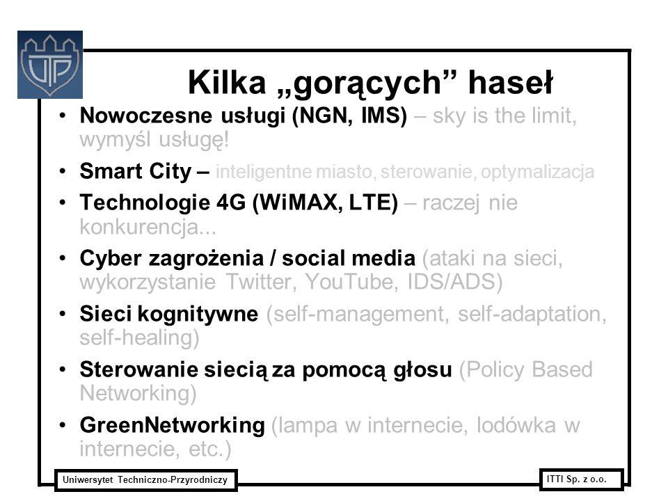 Uniwersytet Techniczno-Przyrodniczy ITTI Sp. z o.o. Kilka gorących haseł Nowoczesne usługi (NGN, IMS) – sky is the limit, wymyśl usługę! Smart City –