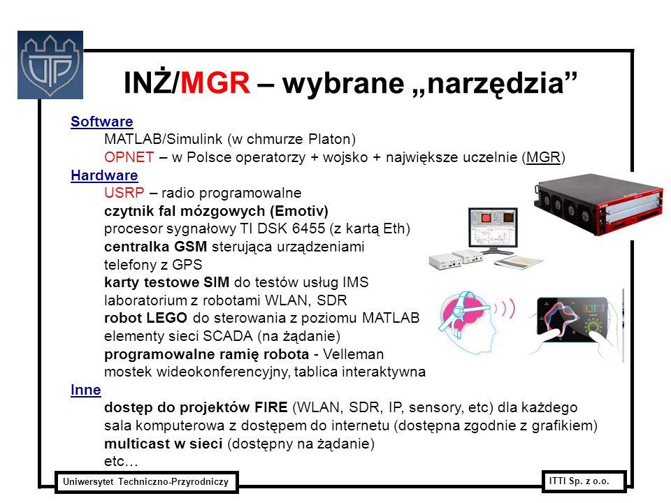 Uniwersytet Techniczno-Przyrodniczy ITTI Sp. z o.o. INŻ/MGR – wybrane narzędzia Software MATLAB/Simulink (w chmurze Platon) OPNET – w Polsce operatorz