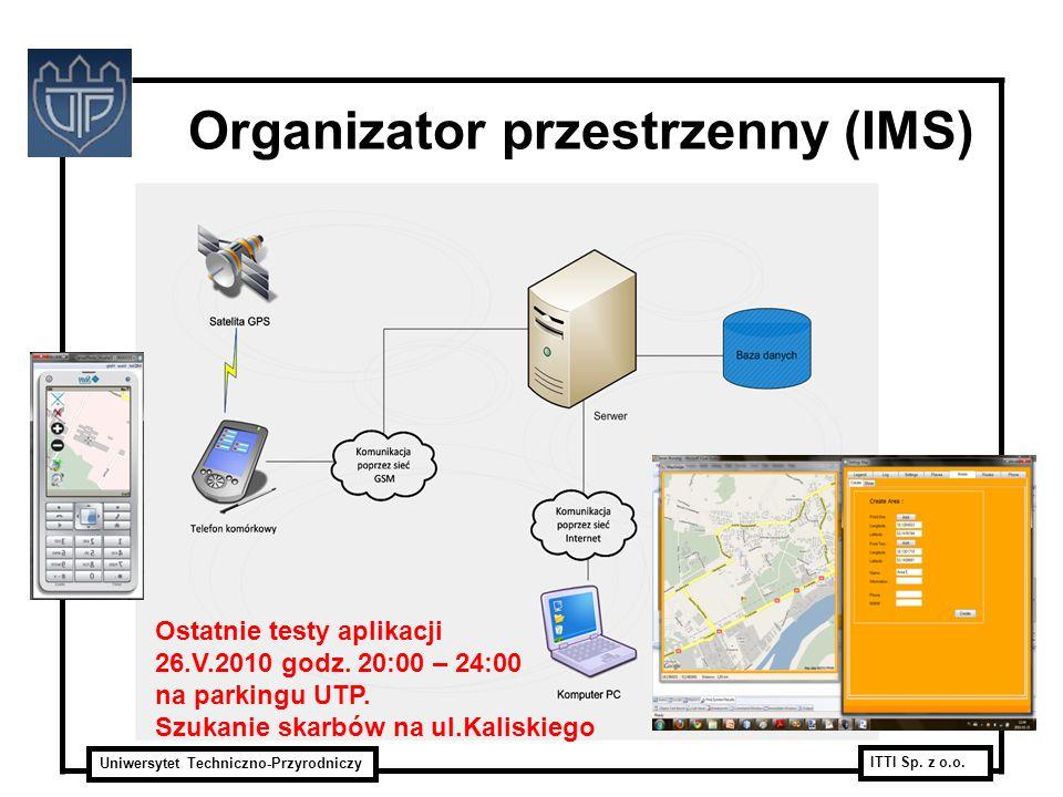 Uniwersytet Techniczno-Przyrodniczy ITTI Sp. z o.o. Organizator przestrzenny (IMS) Ostatnie testy aplikacji 26.V.2010 godz. 20:00 – 24:00 na parkingu