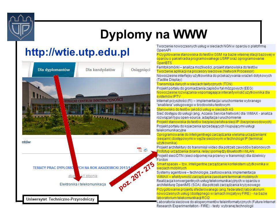 Uniwersytet Techniczno-Przyrodniczy ITTI Sp. z o.o. Dyplomy na WWW http://wtie.utp.edu.pl Tworzenie nowoczesnych usług w sieciach NGN w oparciu o plat