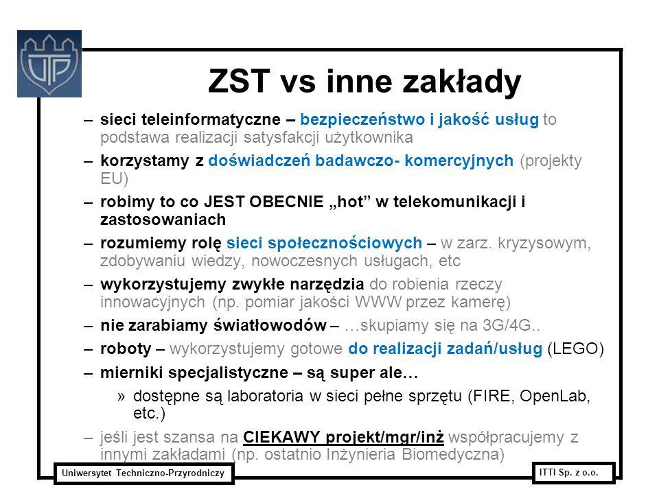 Uniwersytet Techniczno-Przyrodniczy ITTI Sp. z o.o. ZST vs inne zakłady –sieci teleinformatyczne – bezpieczeństwo i jakość usług to podstawa realizacj