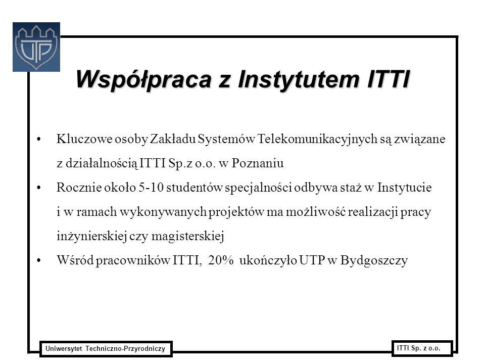 Uniwersytet Techniczno-Przyrodniczy ITTI Sp. z o.o. Współpraca z Instytutem ITTI Kluczowe osoby Zakładu Systemów Telekomunikacyjnych są związane z dzi