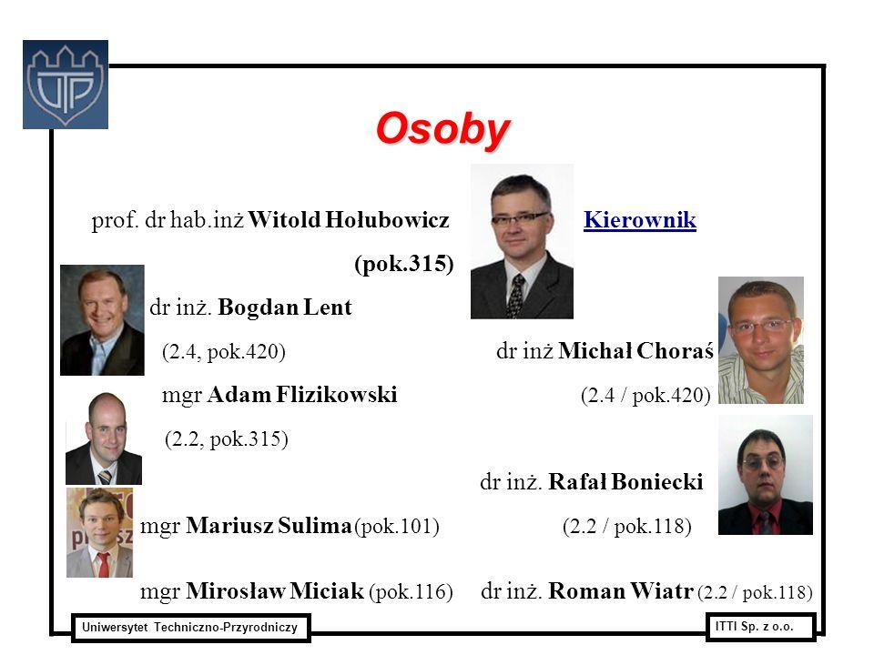 Uniwersytet Techniczno-Przyrodniczy ITTI Sp. z o.o. prof. dr hab.inż Witold Hołubowicz Kierownik (pok.315) dr inż. Bogdan Lent (2.4, pok.420) dr inż M