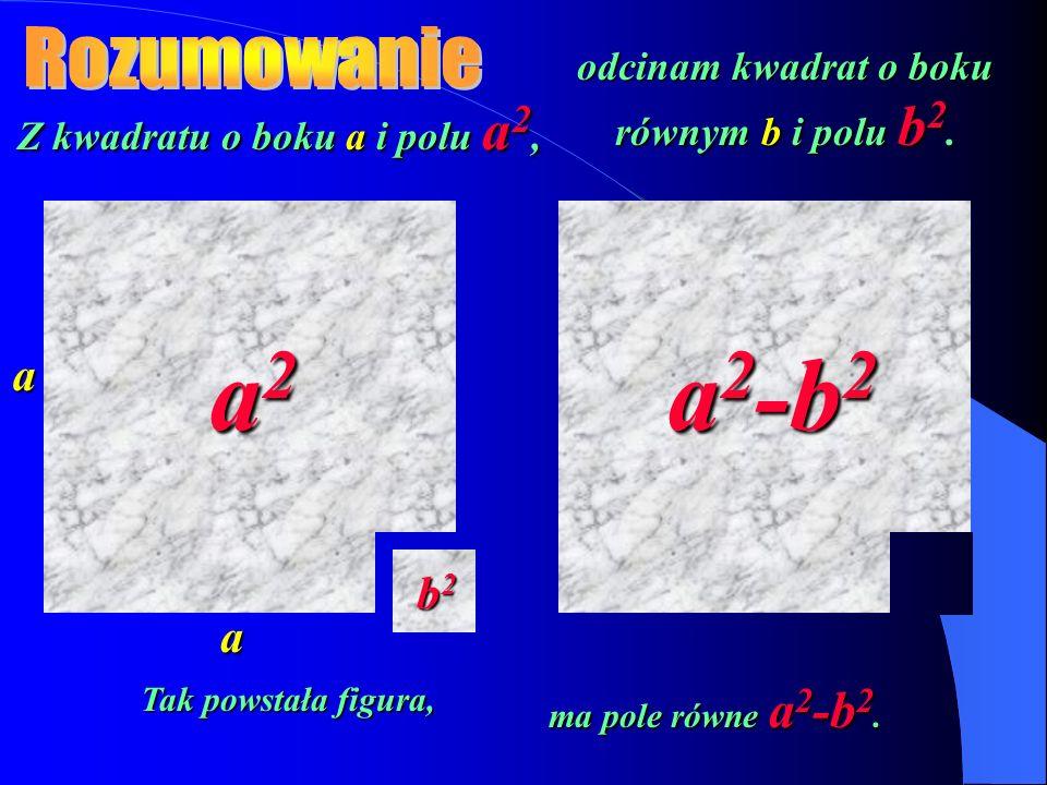 Z kwadratu o boku a i polu a 2, a a odcinam kwadrat o boku równym b i polu b 2. a2a2a2a2 b2b2b2b2 a 2 -b 2 Tak powstała figura, ma pole równe a 2 -b 2