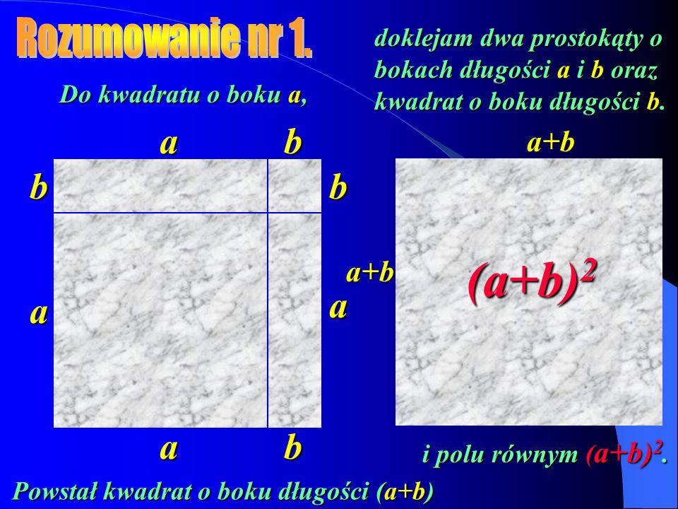 Do kwadratu o boku a i polu a 2, doklejam dwa prostokąty o bokach długości a i b i polach ab oraz kwadrat o boku długości b i polu b 2.