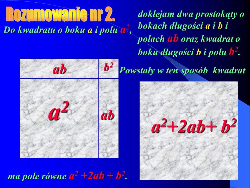 Do kwadratu o boku a i polu a 2, doklejam dwa prostokąty o bokach długości a i b i polach ab oraz kwadrat o boku długości b i polu b 2. a2a2a2a2 b2b2b