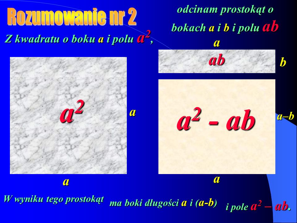 Z kwadratu o boku a i polu a 2, a a odcinam prostokąt o bokach a i b i polu ab W wyniku tego prostokąt a2a2a2a2 a b ma boki długości a i ( a-b ) a a–b