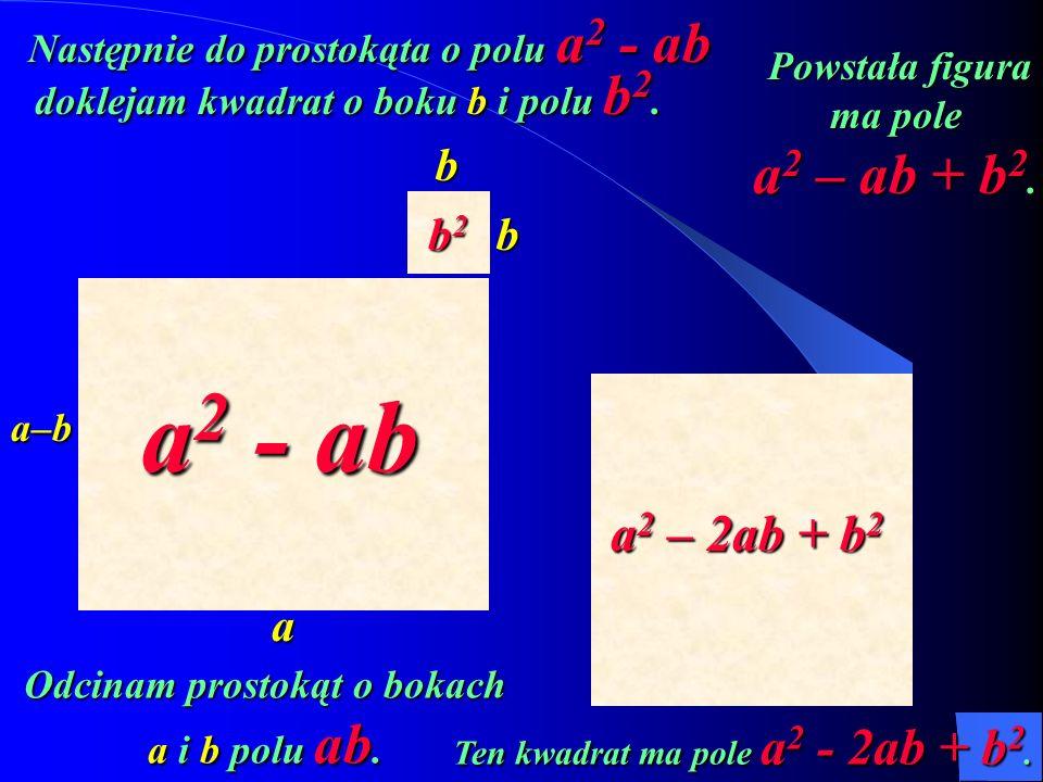 a–b a b b Następnie do prostokąta o polu a 2 - ab b2b2b2b2 a 2 - ab doklejam kwadrat o boku b i polu b 2. Powstała figura ma pole a 2 – ab + b 2. Pows