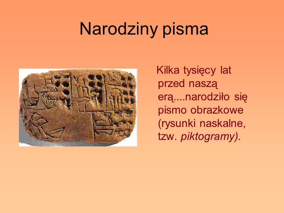 Narodziny pisma Kilka tysięcy lat przed naszą erą....narodziło się pismo obrazkowe (rysunki naskalne, tzw. piktogramy).