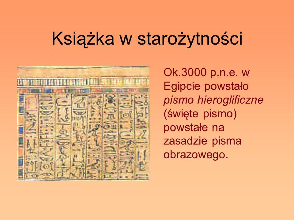 Książka w starożytności Ok.3000 p.n.e. w Egipcie powstało pismo hieroglificzne (święte pismo) powstałe na zasadzie pisma obrazowego.