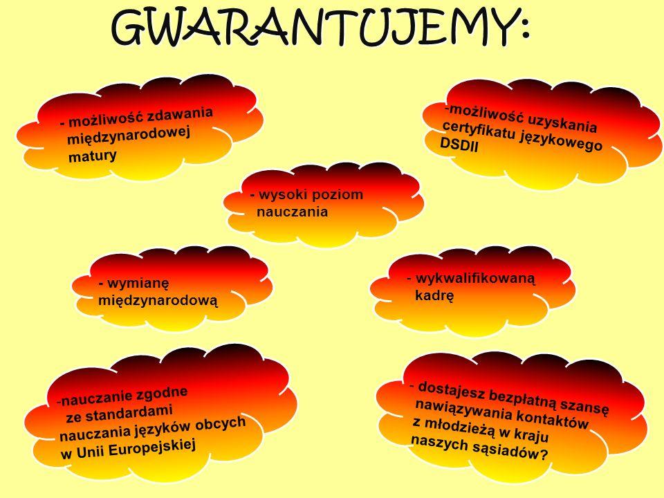 - wysoki poziom nauczania - wymianę międzynarodową -nauczanie zgodne ze standardami nauczania języków obcych w Unii Europejskiej -możliwość uzyskania