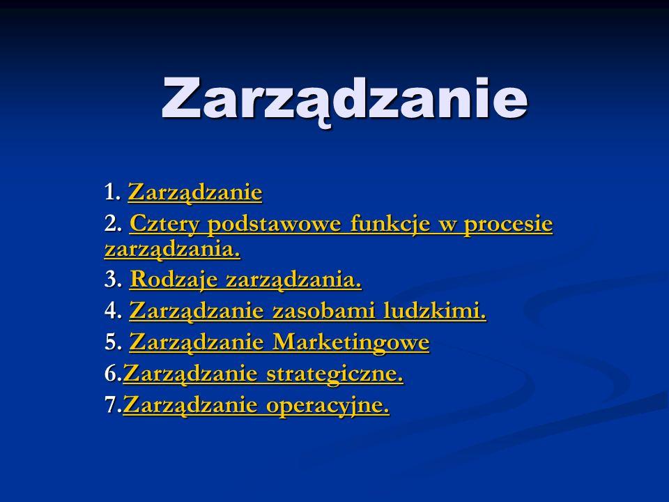 Zarządzanie 1.Zarządzanie Zarządzanie 2. Cztery podstawowe funkcje w procesie zarządzania.