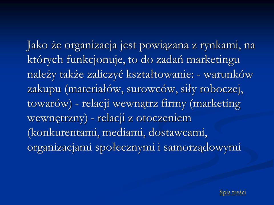 Jako że organizacja jest powiązana z rynkami, na których funkcjonuje, to do zadań marketingu należy także zaliczyć kształtowanie: - warunków zakupu (materiałów, surowców, siły roboczej, towarów) - relacji wewnątrz firmy (marketing wewnętrzny) - relacji z otoczeniem (konkurentami, mediami, dostawcami, organizacjami społecznymi i samorządowymi Spis treści