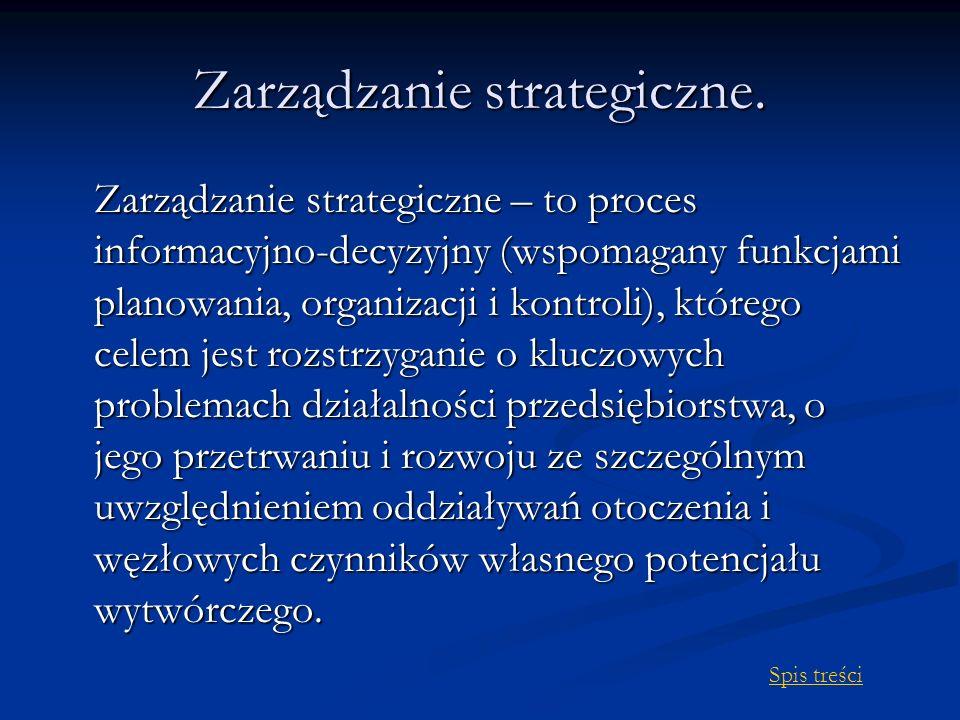 Zarządzanie strategiczne. Zarządzanie strategiczne – to proces informacyjno-decyzyjny (wspomagany funkcjami planowania, organizacji i kontroli), które