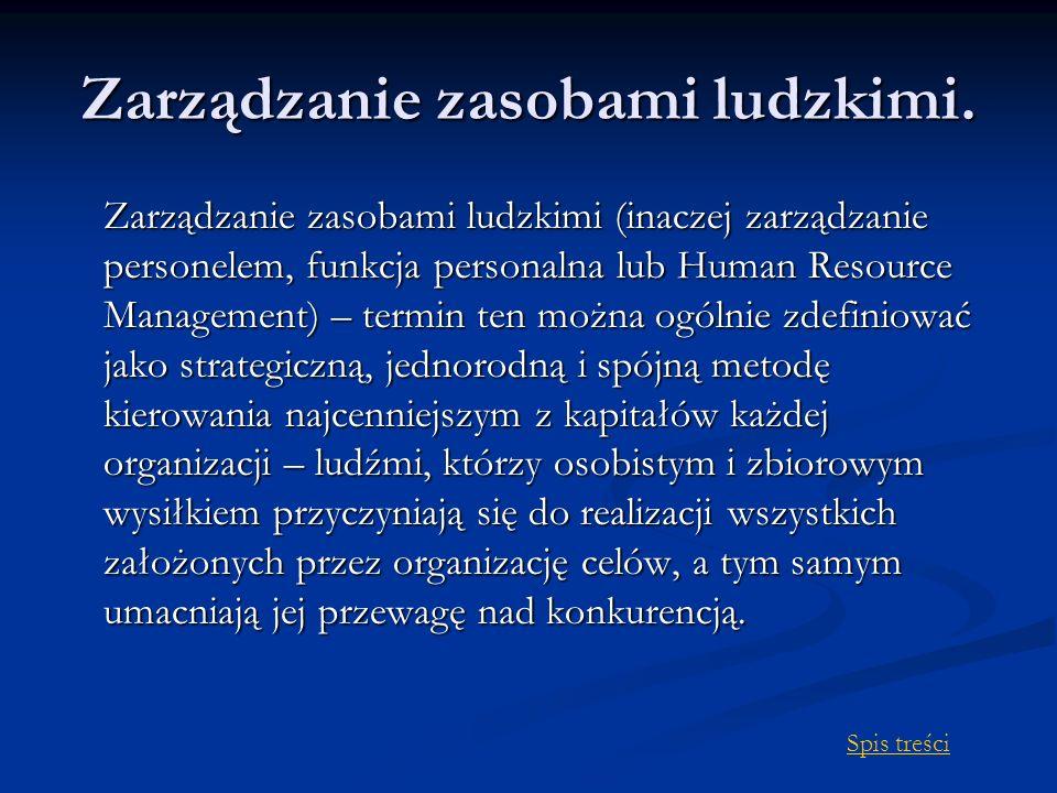 Zarządzanie zasobami ludzkimi. Zarządzanie zasobami ludzkimi (inaczej zarządzanie personelem, funkcja personalna lub Human Resource Management) – term