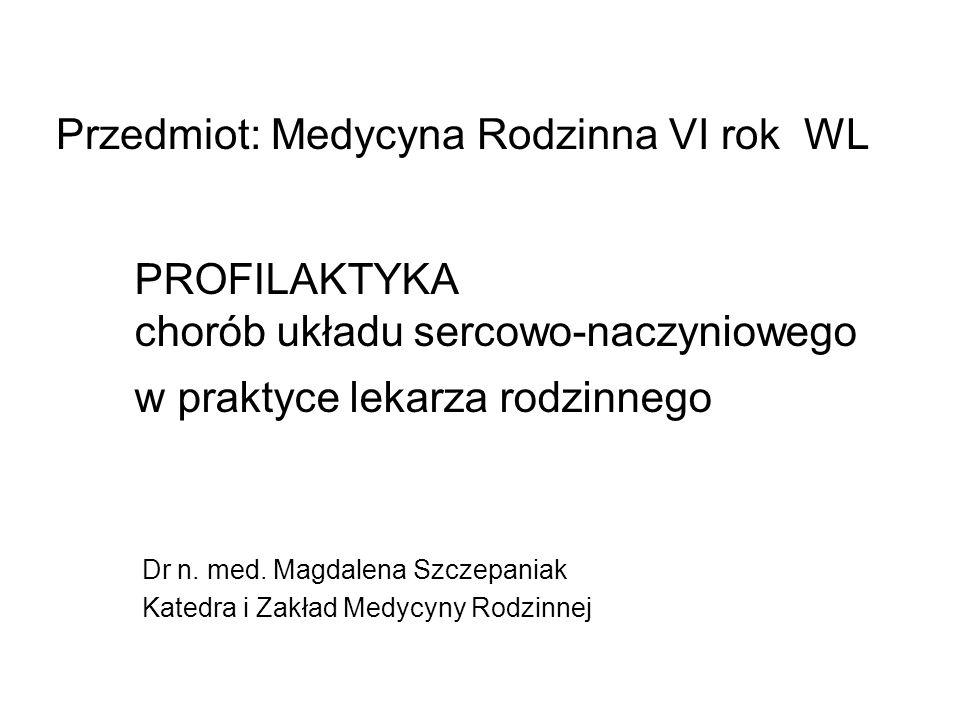 PROFILAKTYKA chorób układu sercowo-naczyniowego w praktyce lekarza rodzinnego Dr n. med. Magdalena Szczepaniak Katedra i Zakład Medycyny Rodzinnej Prz