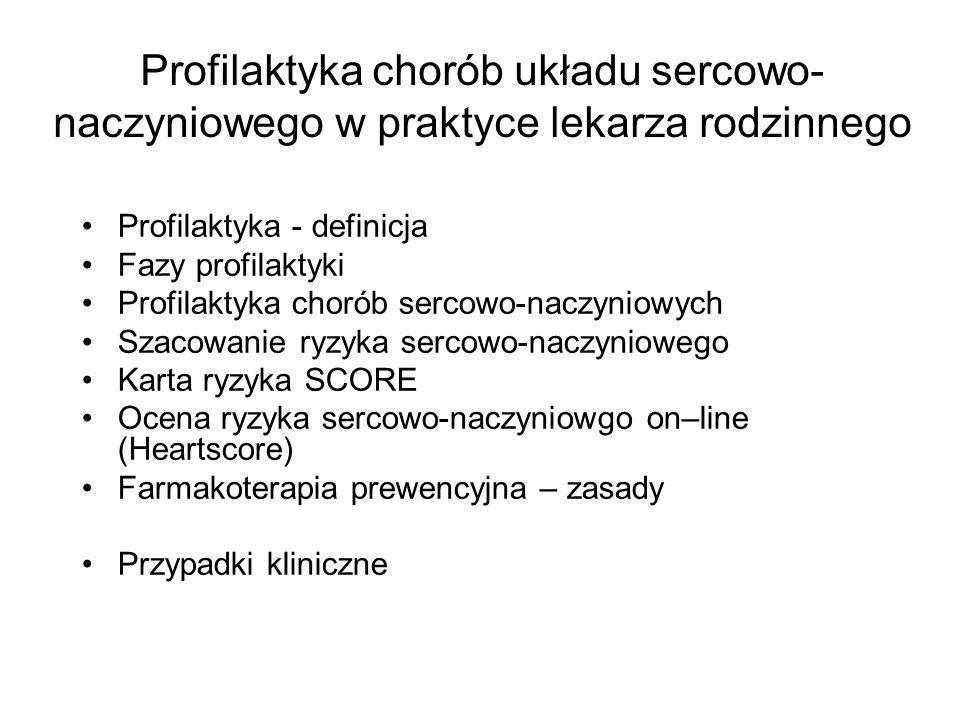Profilaktyka chorób układu sercowo- naczyniowego w praktyce lekarza rodzinnego Profilaktyka - definicja Fazy profilaktyki Profilaktyka chorób sercowo-