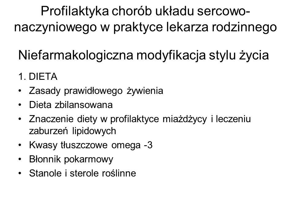 Niefarmakologiczna modyfikacja stylu życia 1. DIETA Zasady prawidłowego żywienia Dieta zbilansowana Znaczenie diety w profilaktyce miażdżycy i leczeni