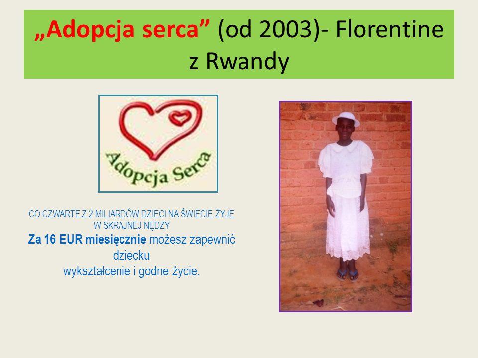 Adopcja serca (od 2003)- Florentine z Rwandy CO CZWARTE Z 2 MILIARDÓW DZIECI NA ŚWIECIE ŻYJE W SKRAJNEJ NĘDZY Za 16 EUR miesięcznie możesz zapewnić dz