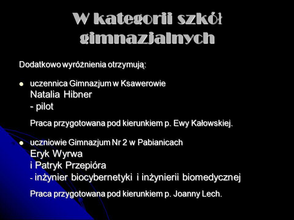 W kategorii szkó ł gimnazjalnych Dodatkowo wyróżnienia otrzymują: uczennica Gimnazjum w Ksawerowie uczennica Gimnazjum w Ksawerowie Natalia Hibner - p