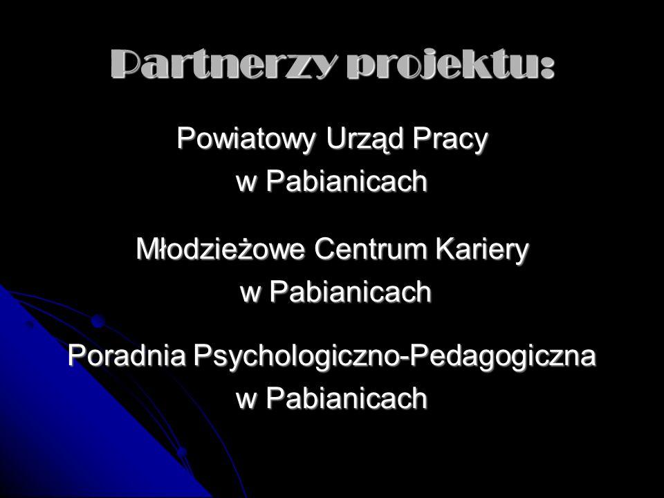 Partnerzy projektu: Powiatowy Urząd Pracy w Pabianicach Młodzieżowe Centrum Kariery w Pabianicach w Pabianicach Poradnia Psychologiczno-Pedagogiczna w