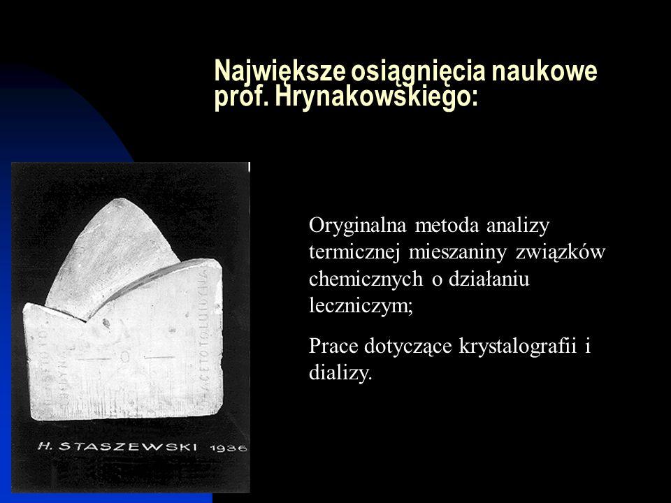 Największe osiągnięcia naukowe prof. Hrynakowskiego: Oryginalna metoda analizy termicznej mieszaniny związków chemicznych o działaniu leczniczym; Prac