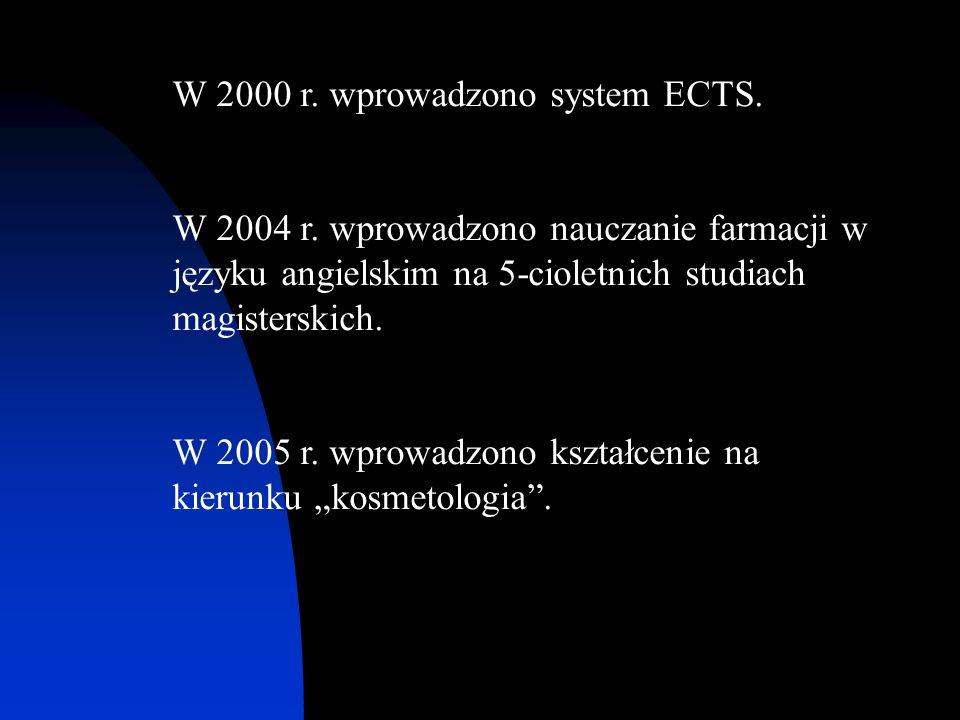 W 2000 r. wprowadzono system ECTS. W 2004 r. wprowadzono nauczanie farmacji w języku angielskim na 5-cioletnich studiach magisterskich. W 2005 r. wpro